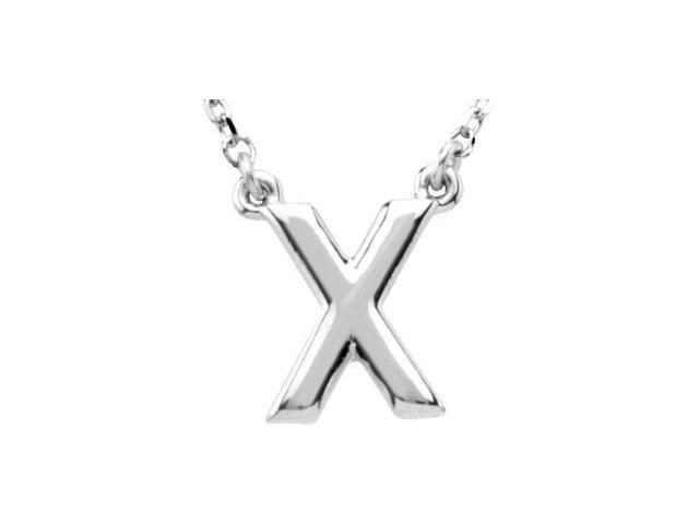 CleverEve's Silver Fashion Block Initial Necklace Sterling Silver X 16