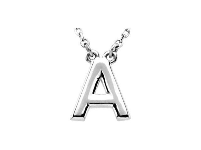 CleverEve's Silver Fashion Block Initial Necklace Sterling Silver A 16