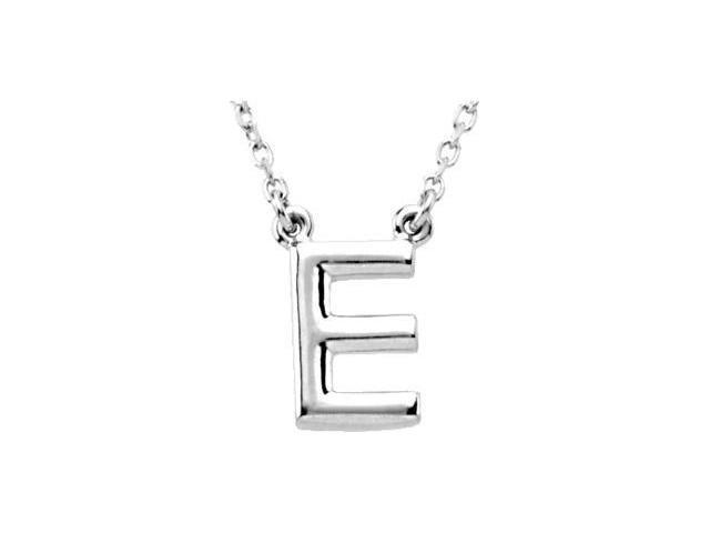 CleverEve's Silver Fashion Block Initial Necklace Sterling Silver E 16
