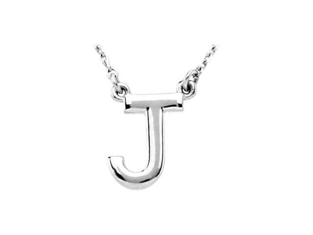 CleverEve's Silver Fashion Block Initial Necklace Sterling Silver J 16