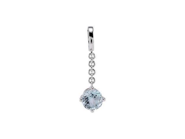CleverEve's Sterling Silvergenuine Aquamarine Pendant Enhancer 08.00 mm