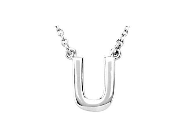 CleverEve's Silver Fashon Block Initial Necklace Sterling Silver U 16