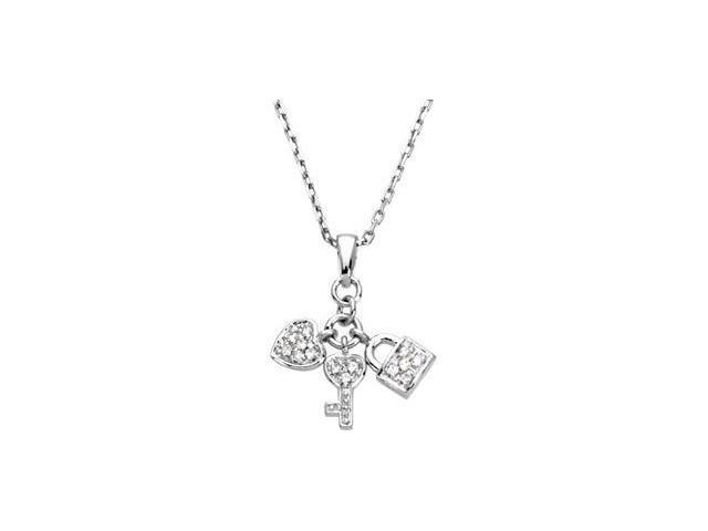CleverEve's Youth Heart, Lock & Key Pendant Sterling Silver 16.00 Inch
