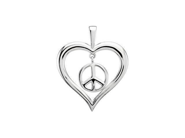 CleverEve's Heart Peace Sign Pendant Sterling Silver 36.75X30.50 mm