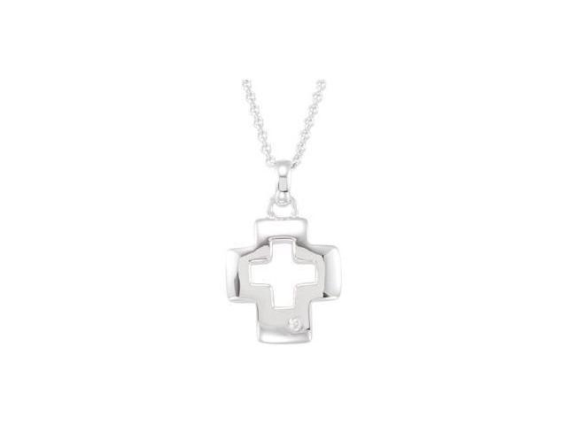 CleverEve's Sterling Silvercross Necklace 16.40X14.65 mm