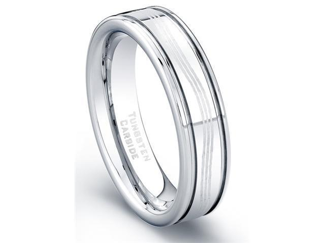 Tungsten Carbide Ring Laser Etched Waves Design Polished Finish Size 10