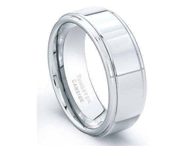 Tungsten Carbide Ring High Polish Finish Beveled Edges Comfort Fit Size 10.5