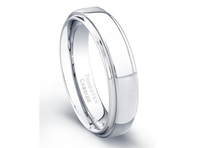 Tungsten Carbide Ring High Polish Finish Beveled Edges Comfort Fit Size 11.5