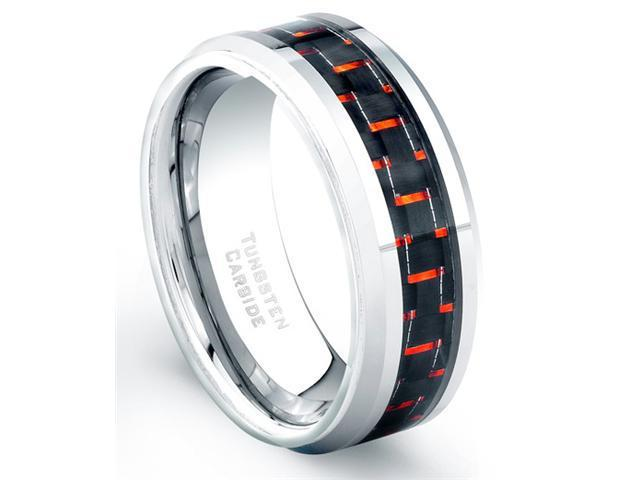 Tungsten Carbide Ring Red And Black Carbon Fiber Comfort Fit Size 11.5