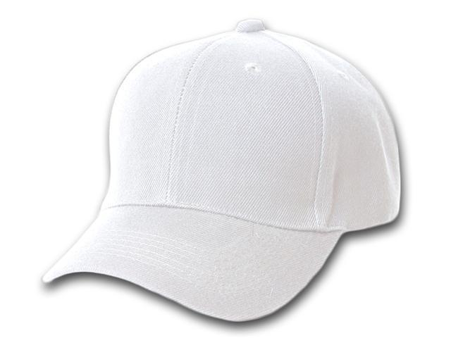 Blank Fitted Curved Cap Hat - White