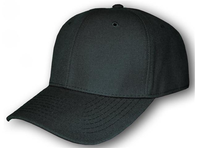 Blank Fitted Curved Cap Hat - Black