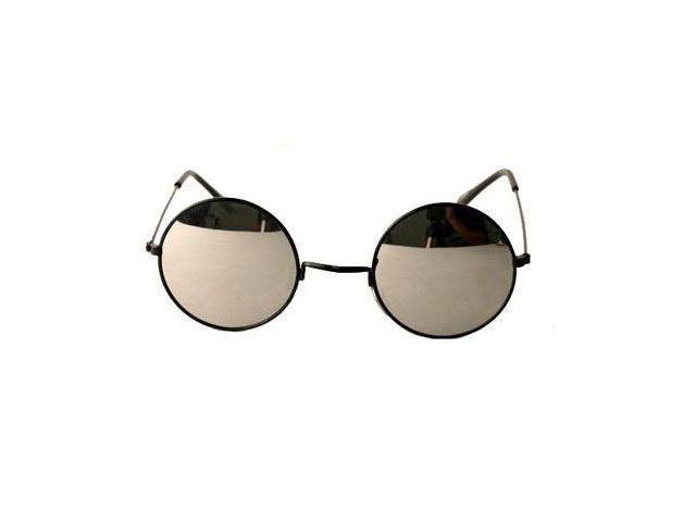 John Lennon Style Mirror Sunglasses- Black