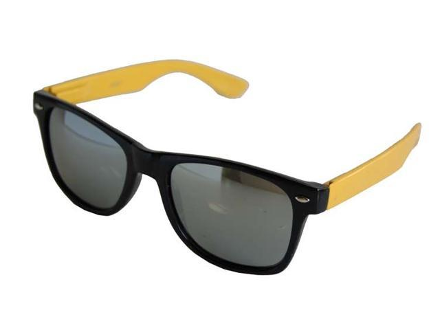 Neon Black Yellow Arm Mirror Wayfarer Sunglasses