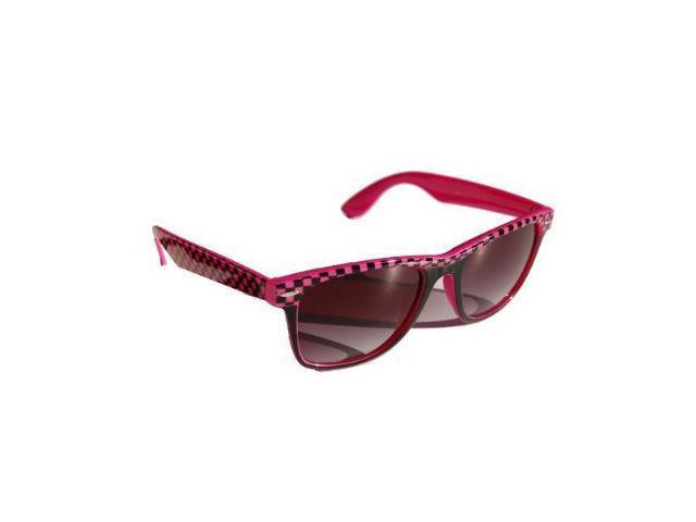 Wayfarer Blues Brothers Checkered Sun Glasses- Pink