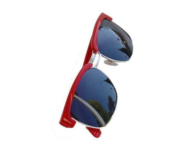 Hollywood Vintage Half Frame Wayfarer Sunglasses- Red