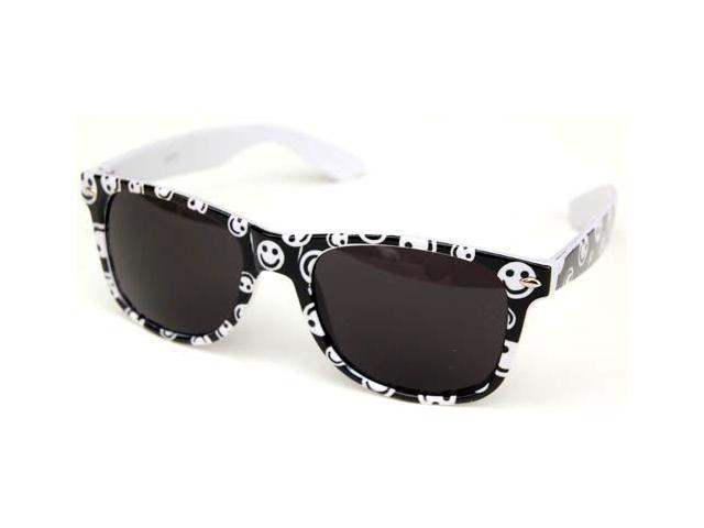 Wayfarer Inspired Happy Face Sunglasses White