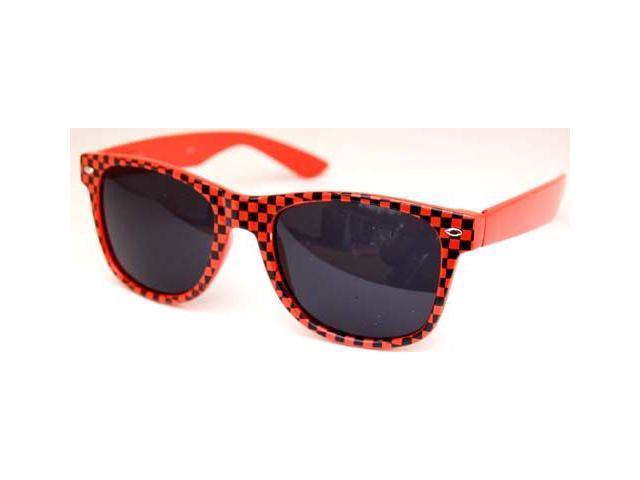 Checkered Wayfarer Sunglasses Orange