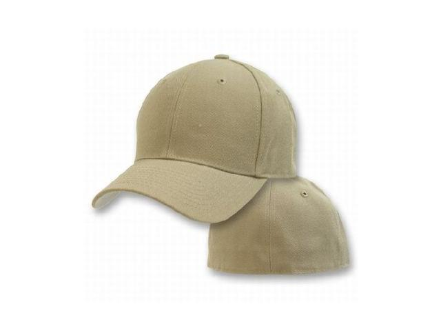Blank Fitted Curved Cap Hat - Khaki