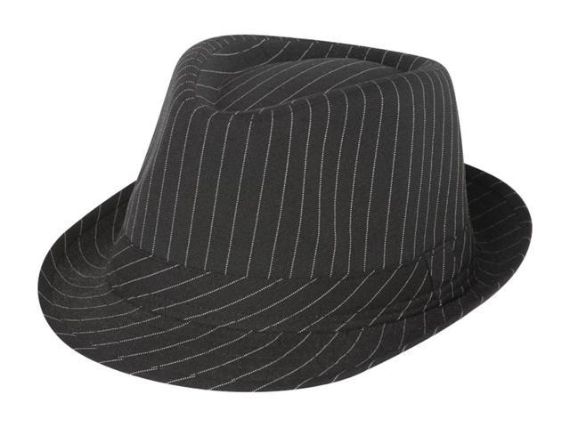 Pinstripe Lightweight Fedora Hat (More Colors Available), Black
