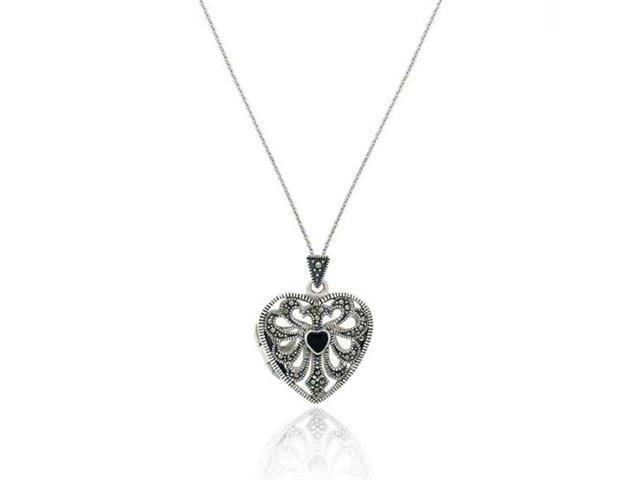 Sterling Silver Marcasite & Onyx Heart Locket Pendant