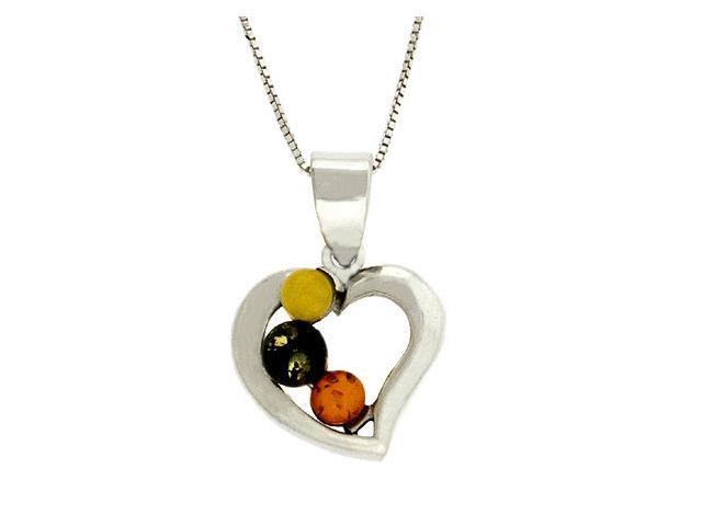 Sterling Silver Trendy Multicolor Brown and Green Genuine Amber Heart Pendant