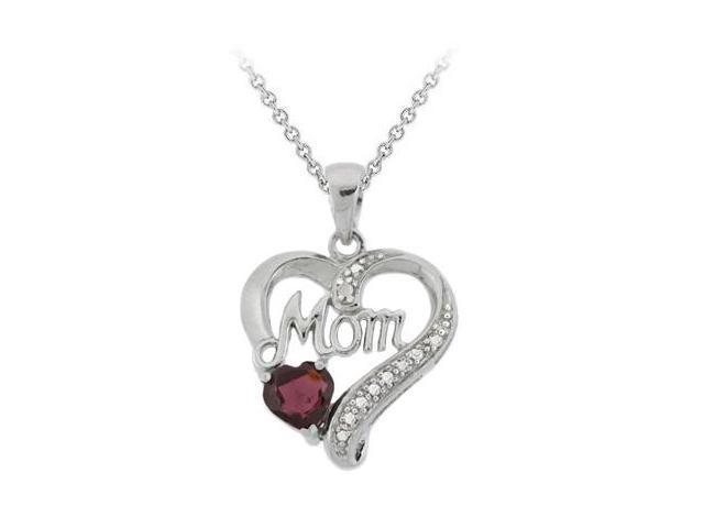 Sterling Silver Garnet 'Mom' Heart Pendant