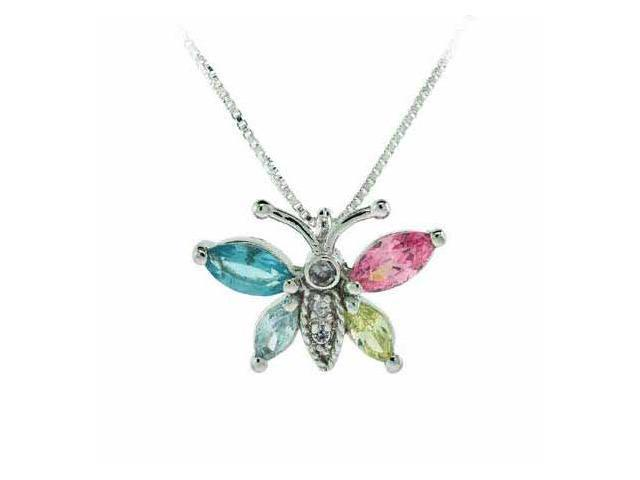 Sterling Silver Simulated Diamond and Aquamarine cz, Pink, Lavender, and Light Y