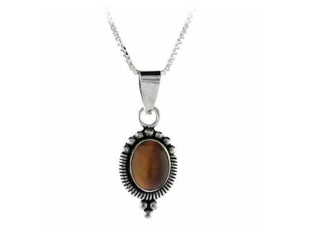 Sterling Silver Bali Bead Genuine Tiger Eye Stone Oval Pendant