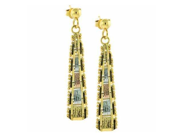 Vermeil (24k Gold over Sterling Silver) Tri Color Dangling Earrings