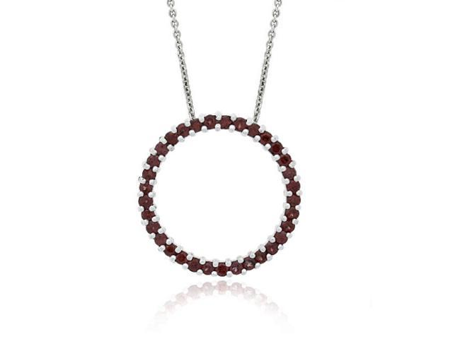Sterling Silver 1.6ct. TGW Garnet Open Circle Pendant