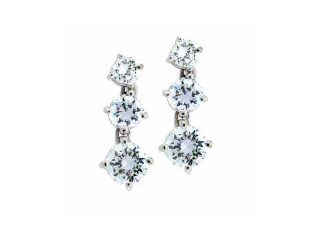 Sterling Silver Simulated Diamond CZ Past Present and Future Earrings