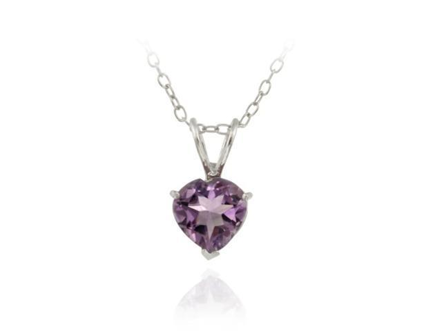 Sterling Silver 1.1ct. TGW Amethyst 7mm Heart Solitaire Pendant, 18