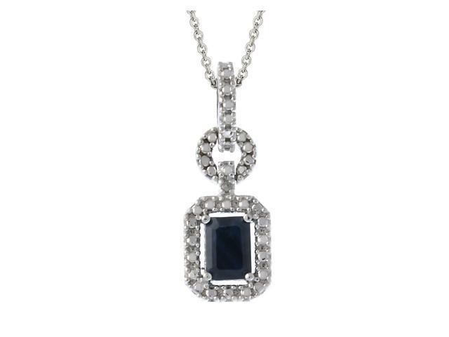 Sterling Silver Genuine Diamond Accent & Sapphire Rectangle Pendant