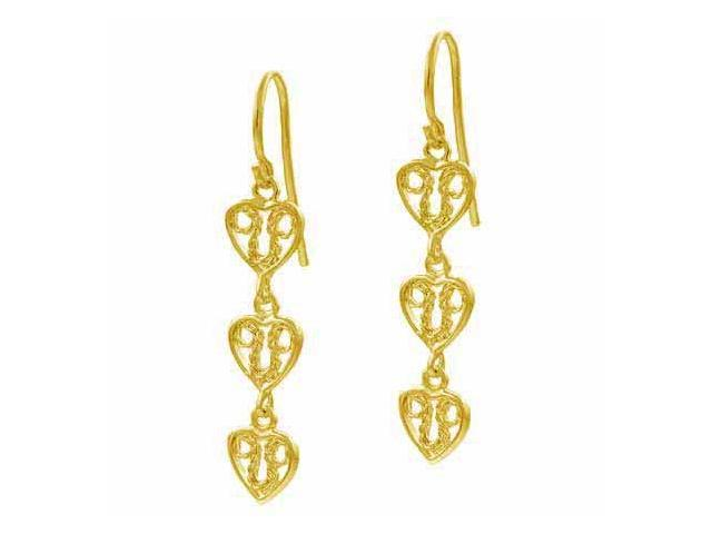 18K Gold over Sterling Silver Filigree Three Heart Dangle Earrings