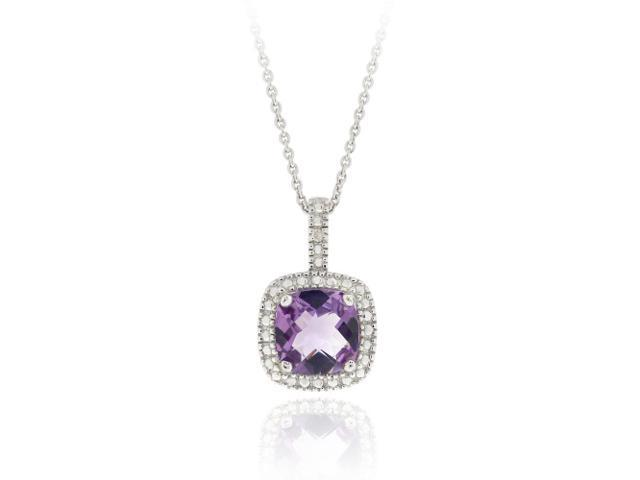 Sterling Silver Amethyst & Diamond Accent Square Pendant