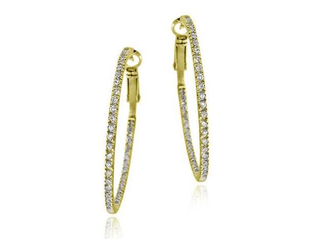 18k Gold over Silver 40mm Inside Out CZ Hoop Earrings