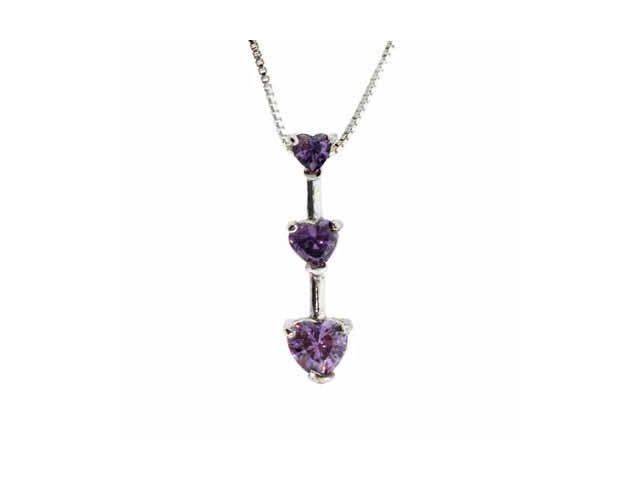 Sterling Silver Past Present and Future Simulated Amethyst Cubic Zirconia Heart