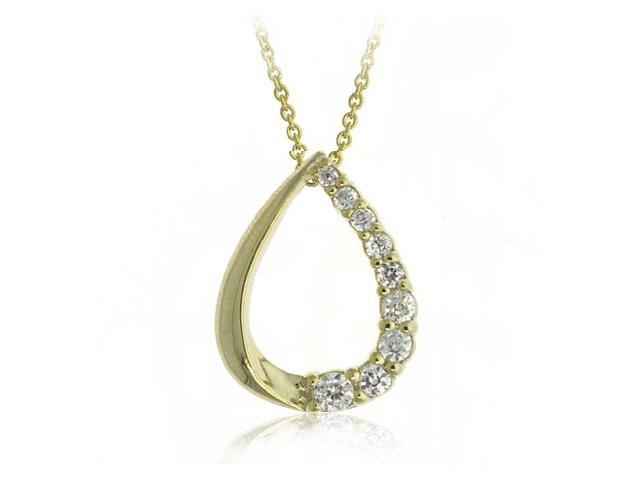 18K Gold over Sterling Silver CZ Teardrop Journey Pendant