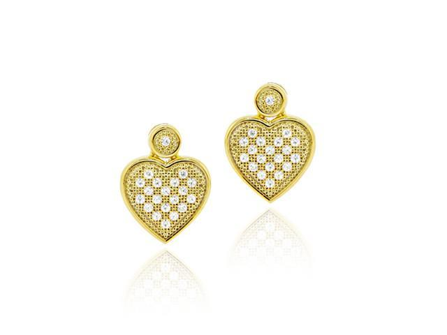 18K Gold over Sterling Silver CZ Micro Pave Heart Dangle Earrings