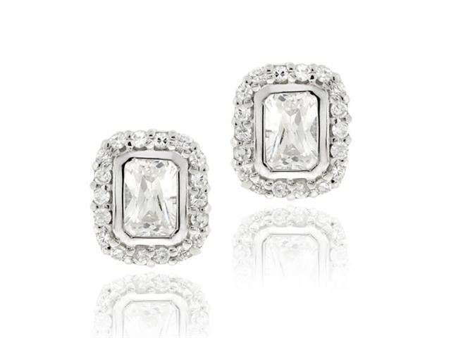 Sterling Silver CZ Emerald Cut Stud Earrings