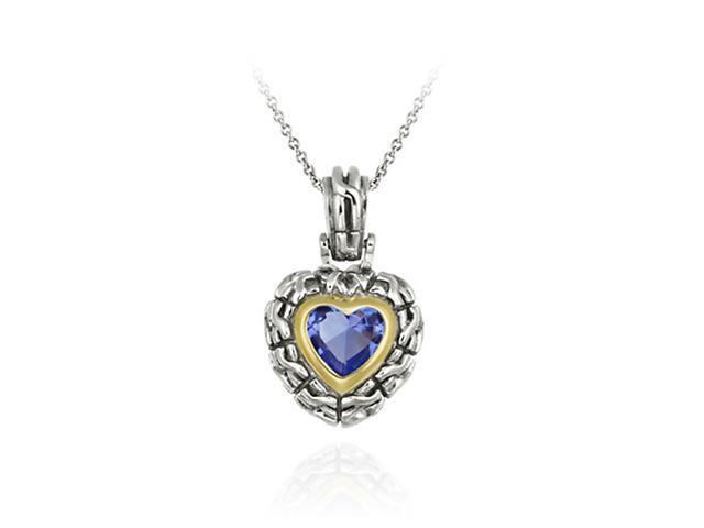 Sterling Silver Two Tone Designer Inspired Dark Blue CZ Heart Pendant w/ Braided
