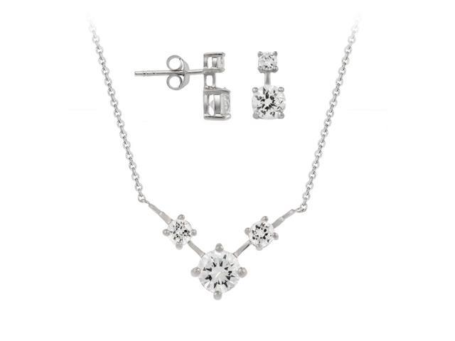 Sterling Silver CZ Studded Necklace & Earrings Set