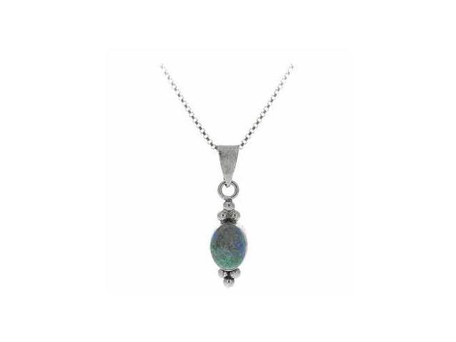 Sterling Silver Bali Bead Genuine Azurite Stone Oval Pendant