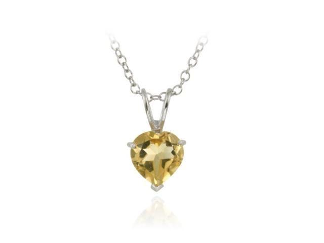 Sterling Silver 1.1ct. TGW Citrine 7mm Heart Solitaire Pendant, 18
