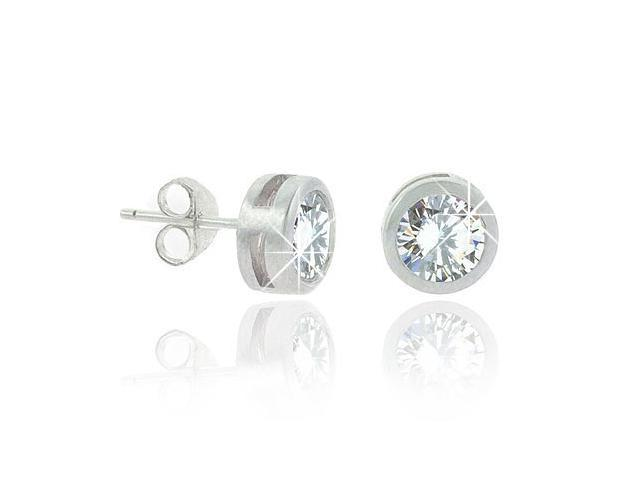Sterling Silver .925 Cubic Zirconia cz Big Bezel Set Round 8mm Stud Earrings