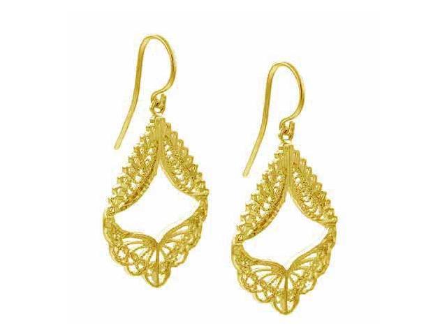 18K Gold over Sterling Silver Filigree Angel Wings Dangle Earrings