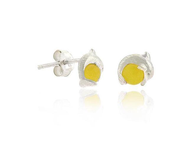 Junior Sterling Silver .925 Yellow Cats Eye Bead Mini Small Kid Stud Dolphin Ear