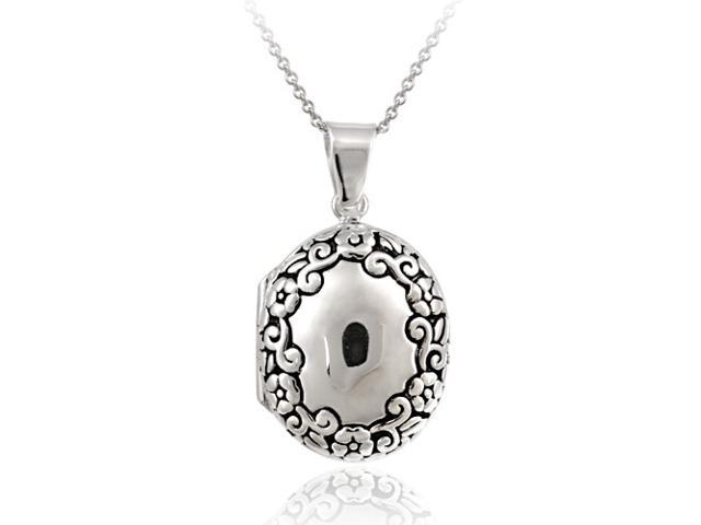Sterling Silver Etched Flower Oval Locket Pendant