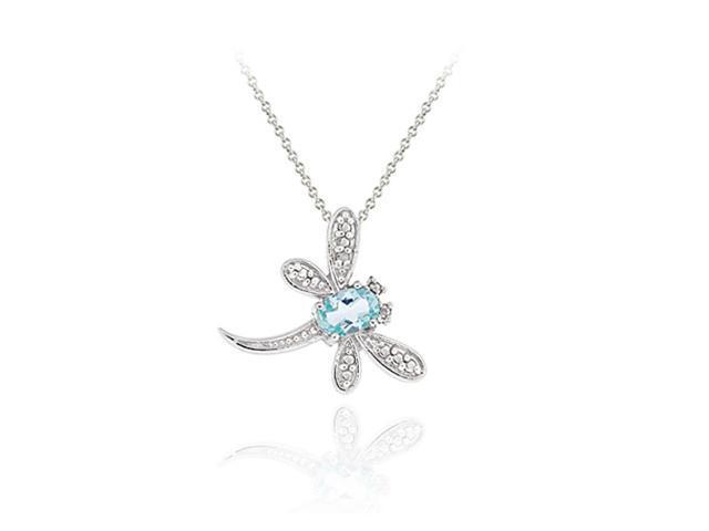 Sterling Silver Blue Topaz & Diamond Accent Flying Dragonfly Slide Pendant