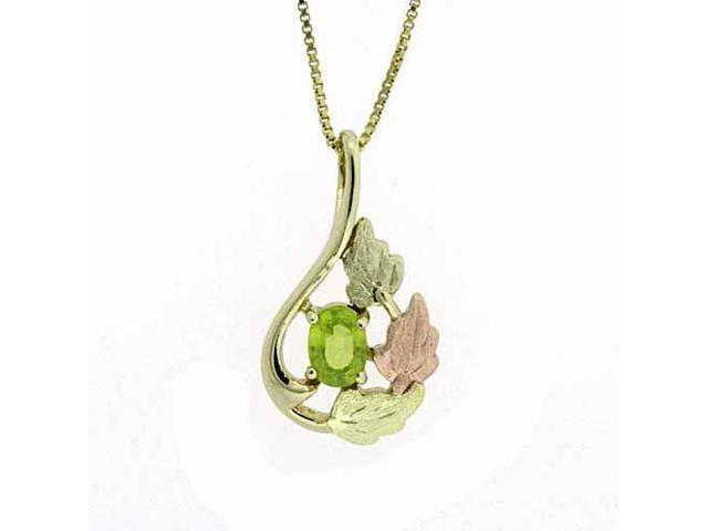Vermeil (24K Gold over Sterling Silver) Tri Color Gold Genuine Peridot Leaf Tear